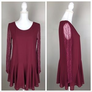 Astr Lace Sleeve Shift Cocktail Party Dress Maroon